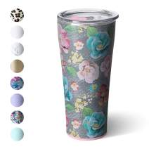 Swig Life 32oz Triple Insulated Stainless Steel Tumbler with Lid, Dishwasher Safe, Double Wall, and Vacuum Sealed Travel Coffee Tumbler in our Garden Party Pattern (Multiple Patterns Available)