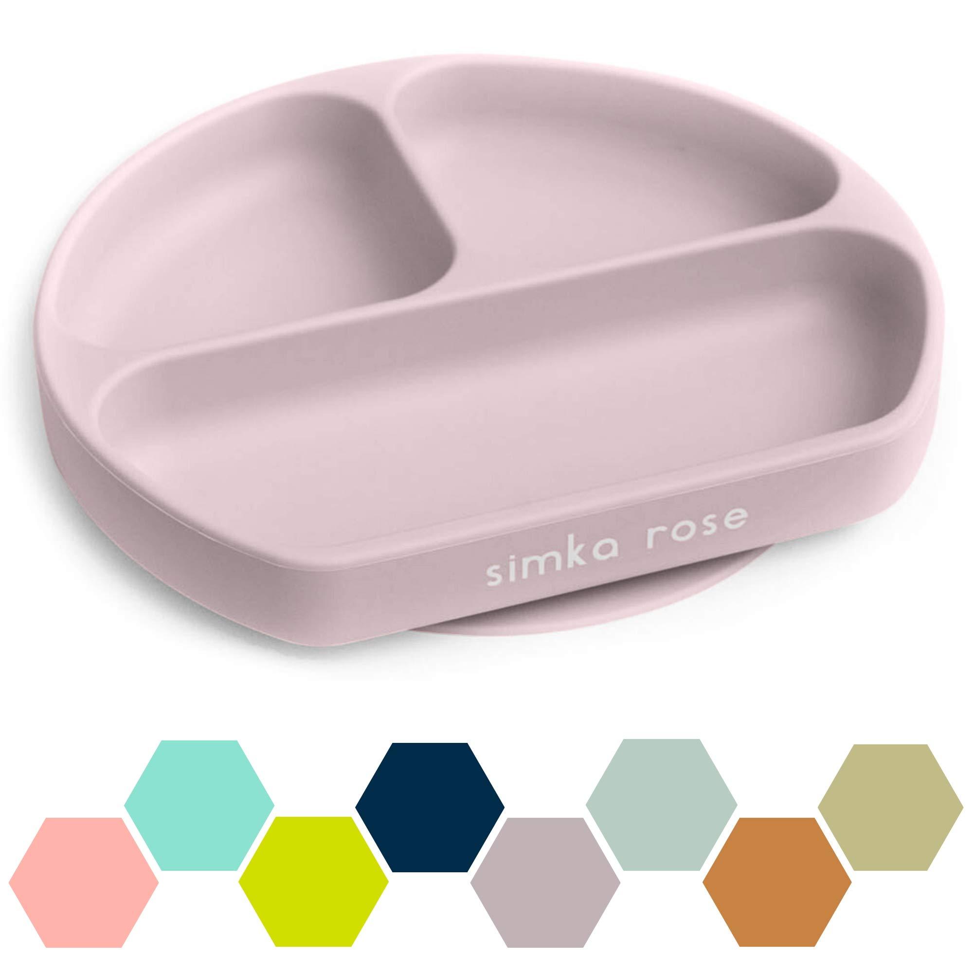 Simka Rose Suction Plate for Baby and Toddler - Divided Silicone Plate - BPA Free - Dishwasher and Microwave Safe - Premium Baby Shower Gift (Lavender)