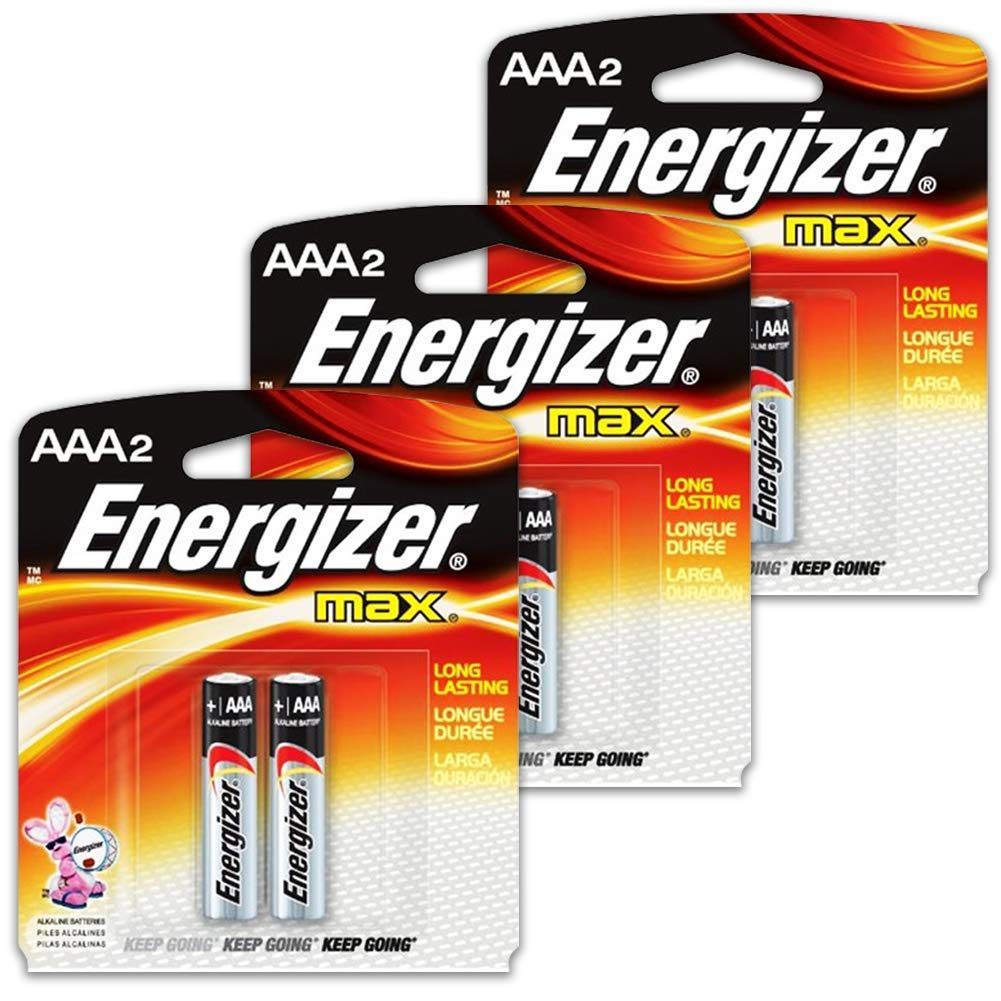 6 Count Energizer Max AAA Batteries - 3 Pack of 2 AAA2 Total of 6 Batteries, The Perfect Choice of Power for All AAA Battery Operated Devices