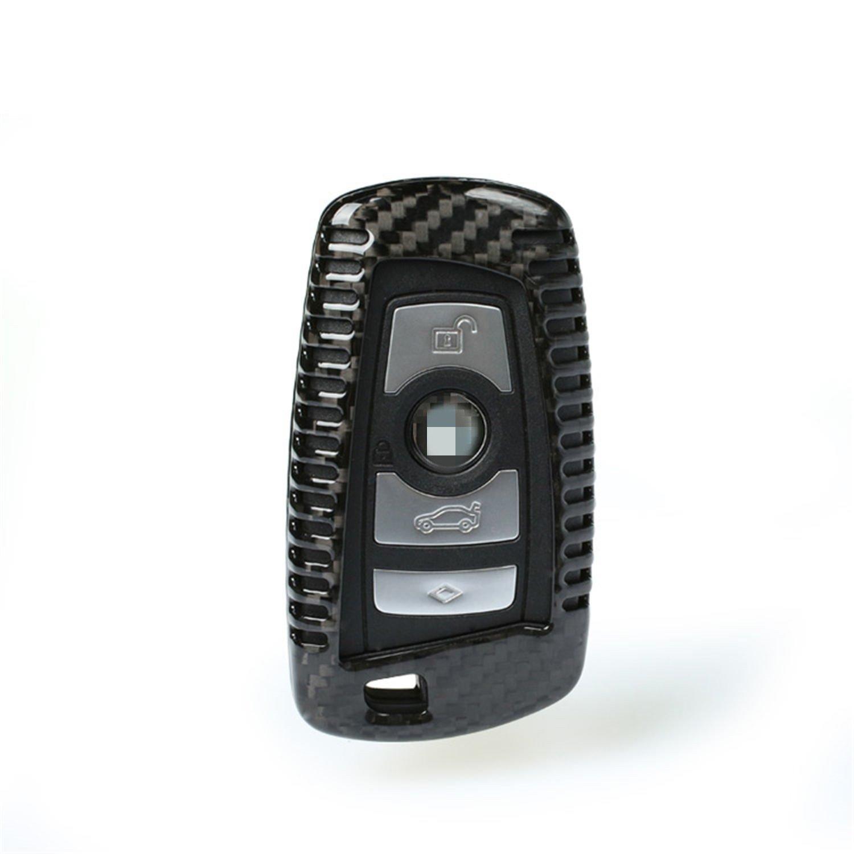 M.JVisun Genuine Carbon Fiber Key Fob Cover for BMW 1-Series 2 3 4 5 6 7 Series X3 X4 M2 M3 M4 M5 M6 Smart Car Remote Key, Men's Car Key Fob Case Women's Fob Cover - Black