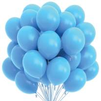 Prextex 75 Light Blue Party Balloons 12 Inch Light Blue Balloons with Matching Color Ribbon for Light Blue Theme Party Decoration, Baby Shower, Birthday Parties Supplies or Arch Décor - Helium Quality
