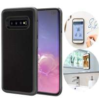 CloudValley Anti Gravity Galaxy S10 Plus Case, Magical Nano Can Stick to Glass, Whiteboards, Tile and Smooth Flat Surfaces for Samsung Galaxy S10 Plus (2019) [Black]