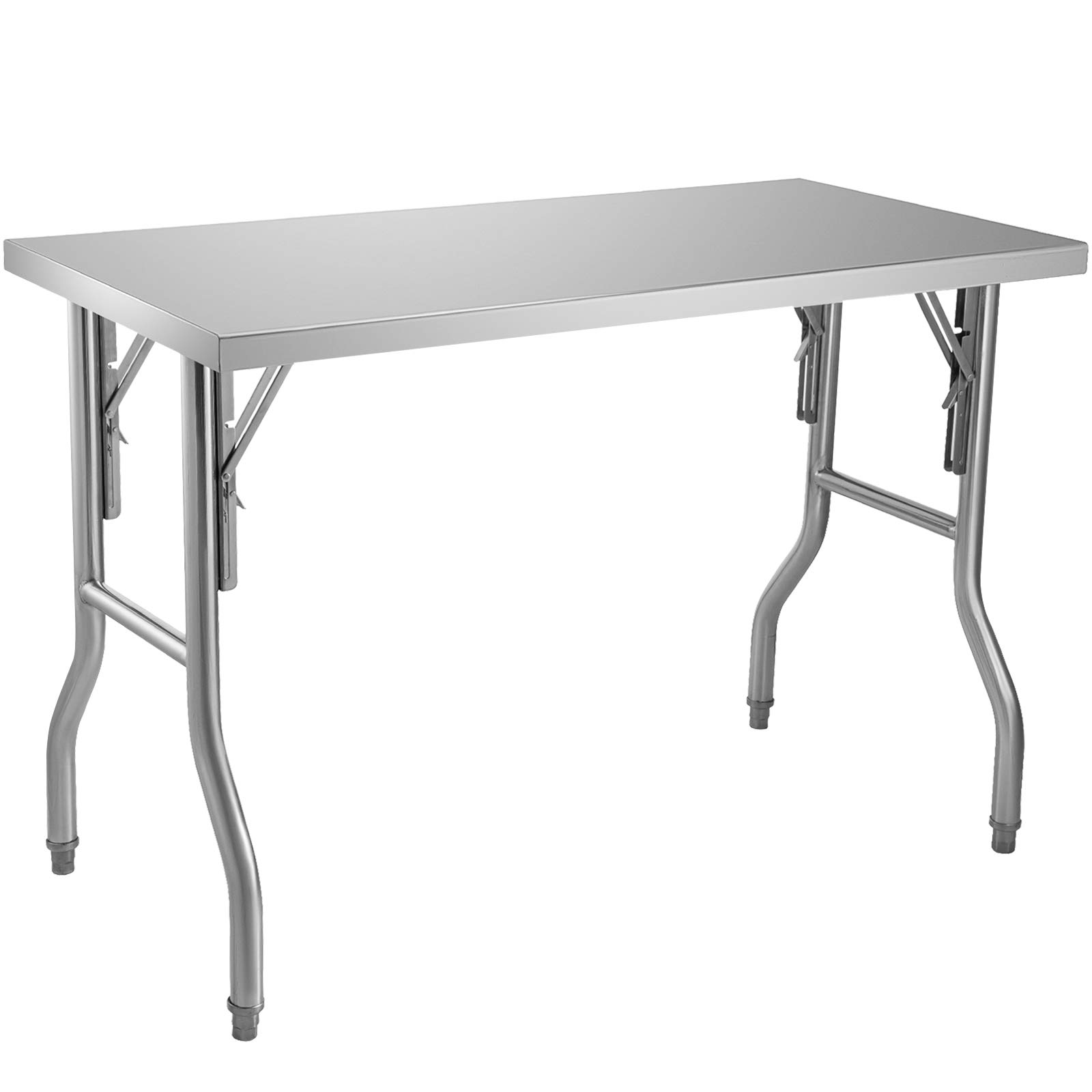 VEVOR Commercial Worktable Workstation 48 x 24 Inch Folding Commercial Prep Table, Heavy-duty Stainless Steel Folding Table with 661 lbs Load, Kitchen Work Table, Silver Stainless Steel Kitchen Island