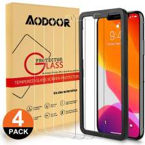 Aodoor Screen Protector for iPhone 11 Pro Max/iPhone Xs Max 6.5 inch 4 Pack Tempered Glass Film Anti-Scratch HD Clarity Easy Installation Alignment Frame (Clear)