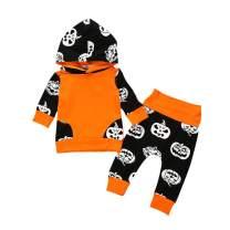 Newborn Baby Boy Halloween Outfits Pumpkin Devil Long Sleeve Hoodies Top + Pants Clothes Set