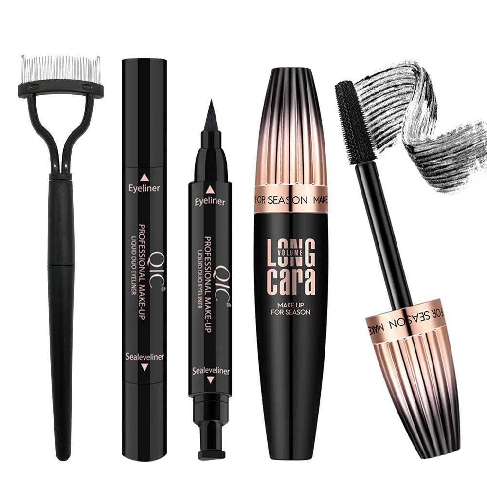 4D Silk Fiber Lash Mascara with Eyeliner Stamp & Folding Eyelash Comb, Long Lasting Waterproof Smudge-Proof, Make Voluminous Eyelashes, Perfect Charming Eye Makeup Kit Black