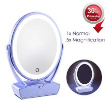 LED Makeup Mirror, Touch Screen Dimming LED, Free Rotating Illuminated Oval Shaving Mirror, Dual Sided Cosmetic Vanity Mirror with 5X Magnification and Drawer, Beauty Mirror with USB Charging, Violet