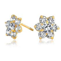 Tiny Delicate AAA CZ Flower Stud Earrings For Women Teen 14K Real Gold Screwback Simulated Gemstone Birthstone Colors