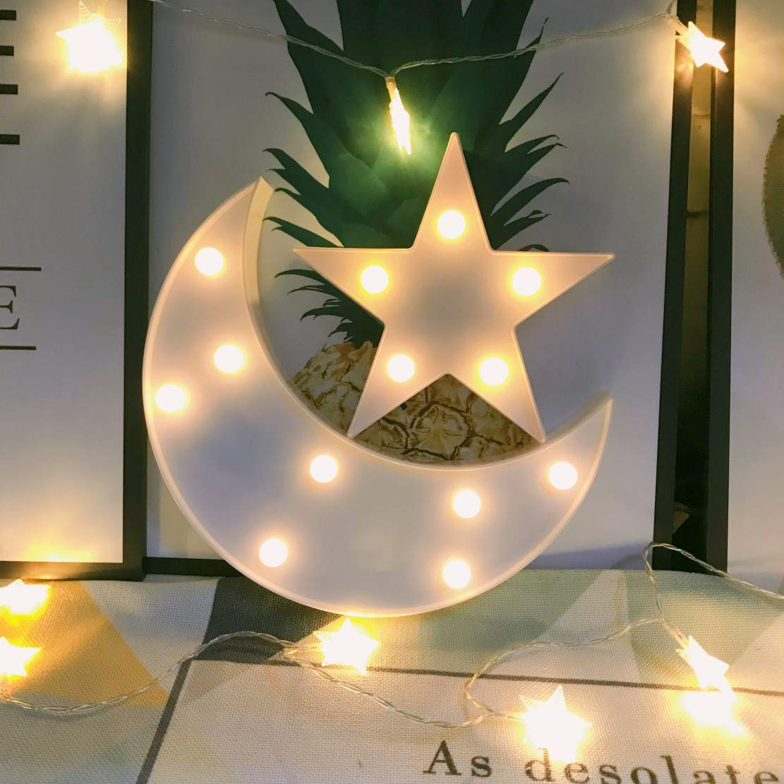 Decorative Moon-star Night Light,Cute LED Nursery Night Lamp Gift-Marquee Moon-star Sign for Birthday party,Baby shower,Kids Room, Living Room Decor(white)