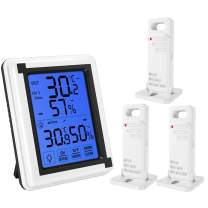 (Upgraded) Indoor Outdoor Thermometer, Digital Hygrometer Thermometer with 3 Sensor, Humidity Monitor Wireless with Touchscreen Backlighty, Humidity Gauge for Home, Office, Baby Room