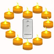Micandle Pack of 12 Remote Control Tea Lights Yellow with CR2450 Long Lasting Battery Operated 120 Hours+ Flameless Candle Flickering Light for Wedding Thanksgiving Christmas Party Festival Decoration