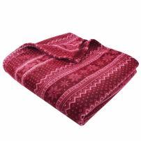"Clara Clark Throw Blanket - Super Soft Cozy Fleece Printed Bedding Blankets - Warm Cuddling Throw - 100% Polyester Light Weight, Machine Washable - 50"" x 60"" - Red - Light Patterned"