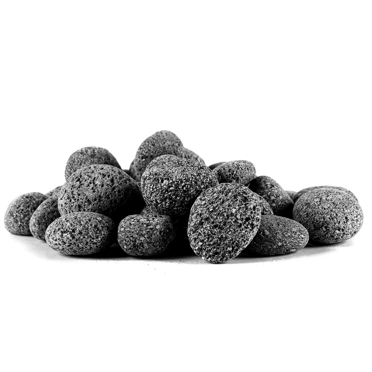 Skyflame Black Natural Tumbled Stones Round Lava Rock Pebbles for Indoor Outdoor Gas Fire Pit | Fireplaces | Garden Landscaping Decoration | Cultivation of Potted Plants | 10 Pounds | 1/2-1 Inch Sized