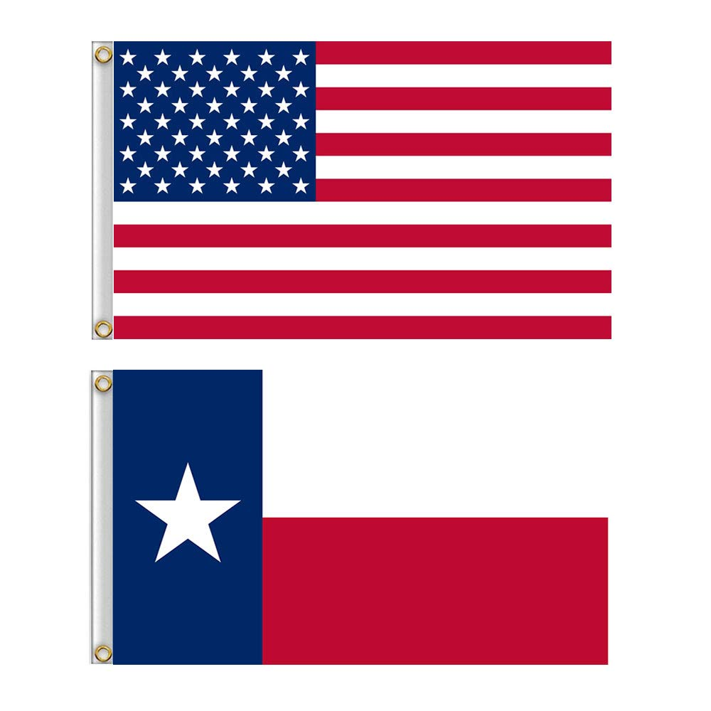 Shmbada American US Flag and The Lone Star Texas Flags with Brass Grommets, Double Stitched Vivid Color Anti Fading, Outdoor Yard Flag Kit 3x5 Ft, 2 Pack