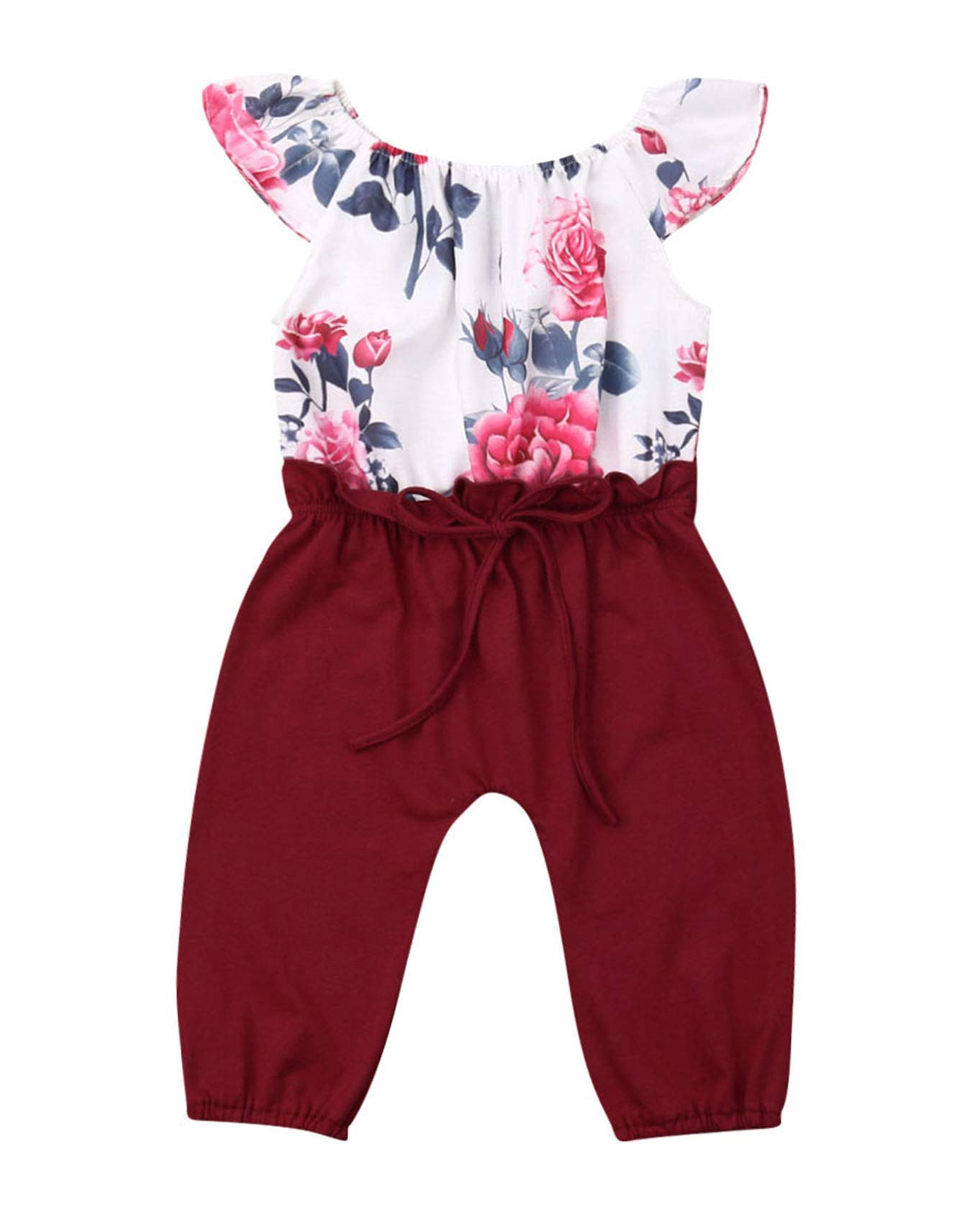 Urkutoba Baby Girl Jumpsuit Toddler Newborn Baby Cotton Linen Romper Solid Color Jumpsuit with Self Tie Straps Overall Outfit