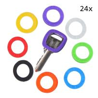 Uniclife Key Caps Tags, 24 Pack, Plastic Key Identifier Rings in 8 Different Colors – A Perfect Coding System to Tag Your Keys