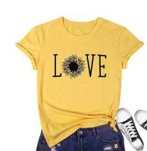 Women Sunflower Graphic T-Shirt Love Letter Printed Crewneck Short Sleeve Casual Tops