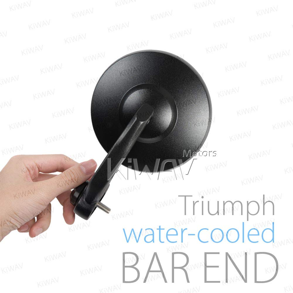 KiWAV Magazi Bob Black Motorcycle Bar End Mirrors Sturdy and Durable Compatible with Triumph Water-Cooled Motorcycles