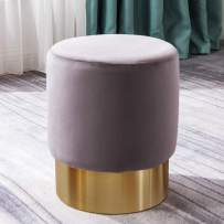 BALIAA Ottoman with Soft Grey Velvet Fabric and Stainless Steel Base Modern Stylish Home Deco Stainless Round Ottoman Velour Fabric Living Room Bedroom