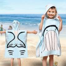 SearchI Hooded Beach Towels for Kids Toddlers Boys Girls 1 to 6 Years Old, Soft Absorbent Cotton Fast Drying Poncho Bath Towel for Swim Pool, Whale 24 x 24 Inches