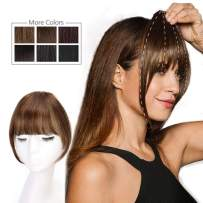 HMD Clip in Bangs 100% Human Hair Bangs Extensions for Women Light Brown Clip on Fringe Bangs Real Hair Nice Natural Flat Neat Bangs with Gradual Temples One Piece Hairpiece for Party and Daily Wear