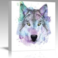 wall26 - Fun and Colorful Splattered Watercolor Wolf - Canvas Art Home Decor - 24x24 inches