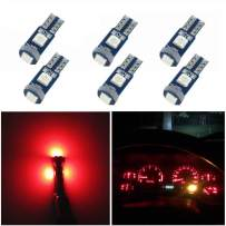 WLJH 6 Pack Super Bright 3030-3SMD T5 Canbus Error Free Red Instrument Cluster Panel Dash Light,Plug and Play