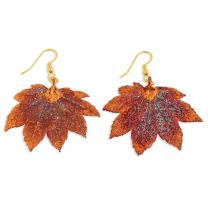 Iridescent Copper Dipped Full Moon Maple Leaf Drop Dangle Chandelier Earrings Fashion Jewelry For Women Gifts For Her