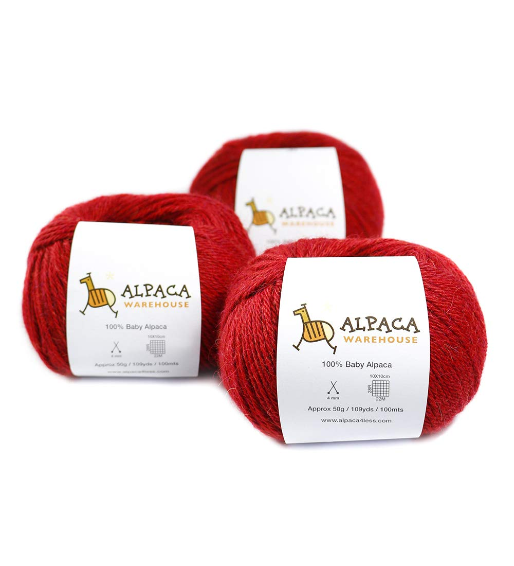 100% Baby Alpaca Yarn Wool Set of 3 Skeins Lace Worsted Bulky/Chunky Weight - Heavenly Soft and Perfect for Knitting and Crocheting (Red, Worsted Weight)
