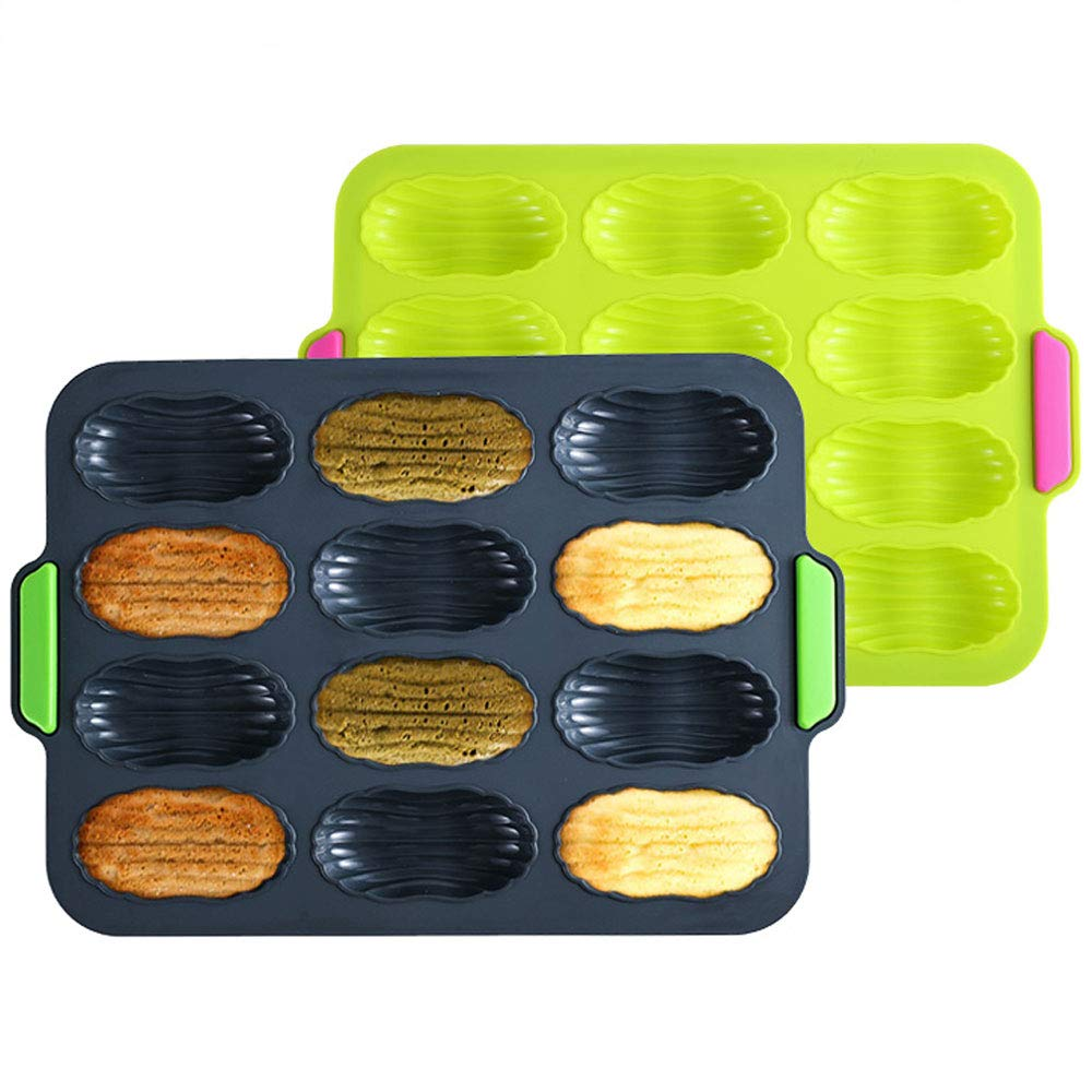 WARMWIND Silicone Madeleine Pan, Non Stick Madeleine Mold, BPA Free Baking Molds for Party, Reusable Cupcake Tray, Dishwasher Available, Green and Gray(Set of 2)