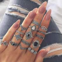 Drecode Vintage Rings Set Silver Sparkly Rhinestones Crystal Knuckle Ring Flower Gemstone Carved Joint Knot Ring Stackable Hand Jewelry for Women and Girls(15Pcs)