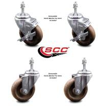 """High Temp Glass Filled Nylon Swivel Threaded Stem Caster Set of 4 w/4"""" x 1.25"""" Brown Wheels and 3/8"""" Stems - Includes 2 with Top Locking Brake - 1200 lbs Total Capacity - Service Caster Brand"""