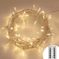 [Remote and Timer] 40 LED Outdoor Fairy Lights - 8 Modes Battery Operated Strings (120 Hours of Lighting,IP65 Waterproof,Warm White)