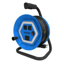 Hi-Bar Cord Reel Wrap Extension with Metal Frame and Plastic Housing, Retractable Black Cable Extender with integrated 550lm work light, dual outlets and charging port - 50 feet 14/3 SJTW