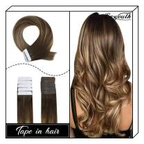Easyouth Natural Hair Extensions Tape 20Inch 50g 20Pcs Per Package Colour 4 Middle Brown Fading To 27 Honey Blonde Highlight With 4 Brown Tape Extensions Double Sided Tape Hair Extensions