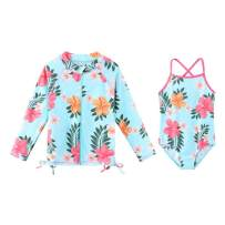 TFJH E Girls Long Sleeve Swim Shirt Rashguard Bathing Suit 2-Pieces Swimwear UV 50+ Zipper