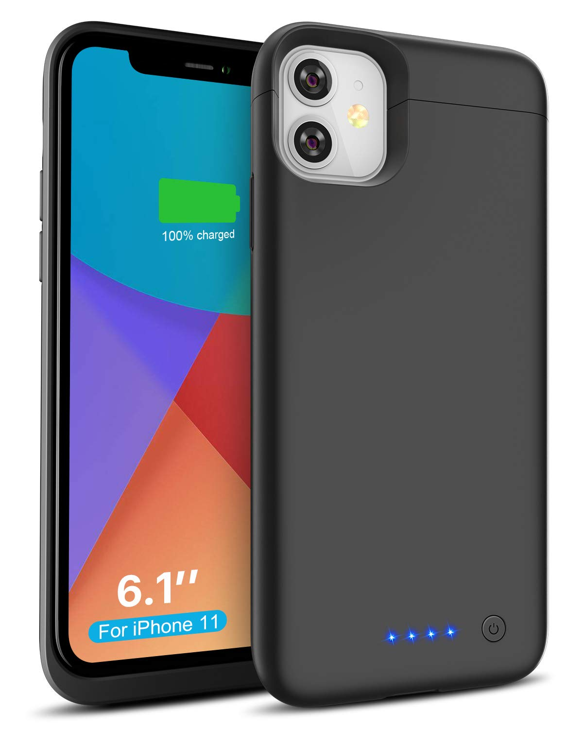 Battery Case for iPhone 11, 6200mAh Rechargeable Charging Case for iPhone 11, Portable Backup Power Bank Extended Battery Charger Case- Black (6.1 inch)