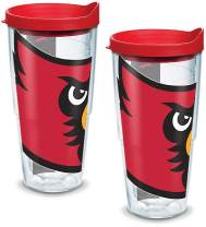 Tervis 1144355 Louisville Cardinals Mascot Colossal Tumbler with Wrap and Red Lid 2 Pack 24oz, Clear
