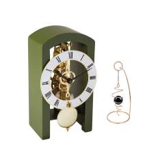 QWIRLY 2-Item Bundle: Patterson Skeleton Mechanical Wooden Table Clock by Hermle 23015DG0721 and Desktop Glass Ball Spinner - Room Accessories Set for Boss, Partner or Friend - Dark Green