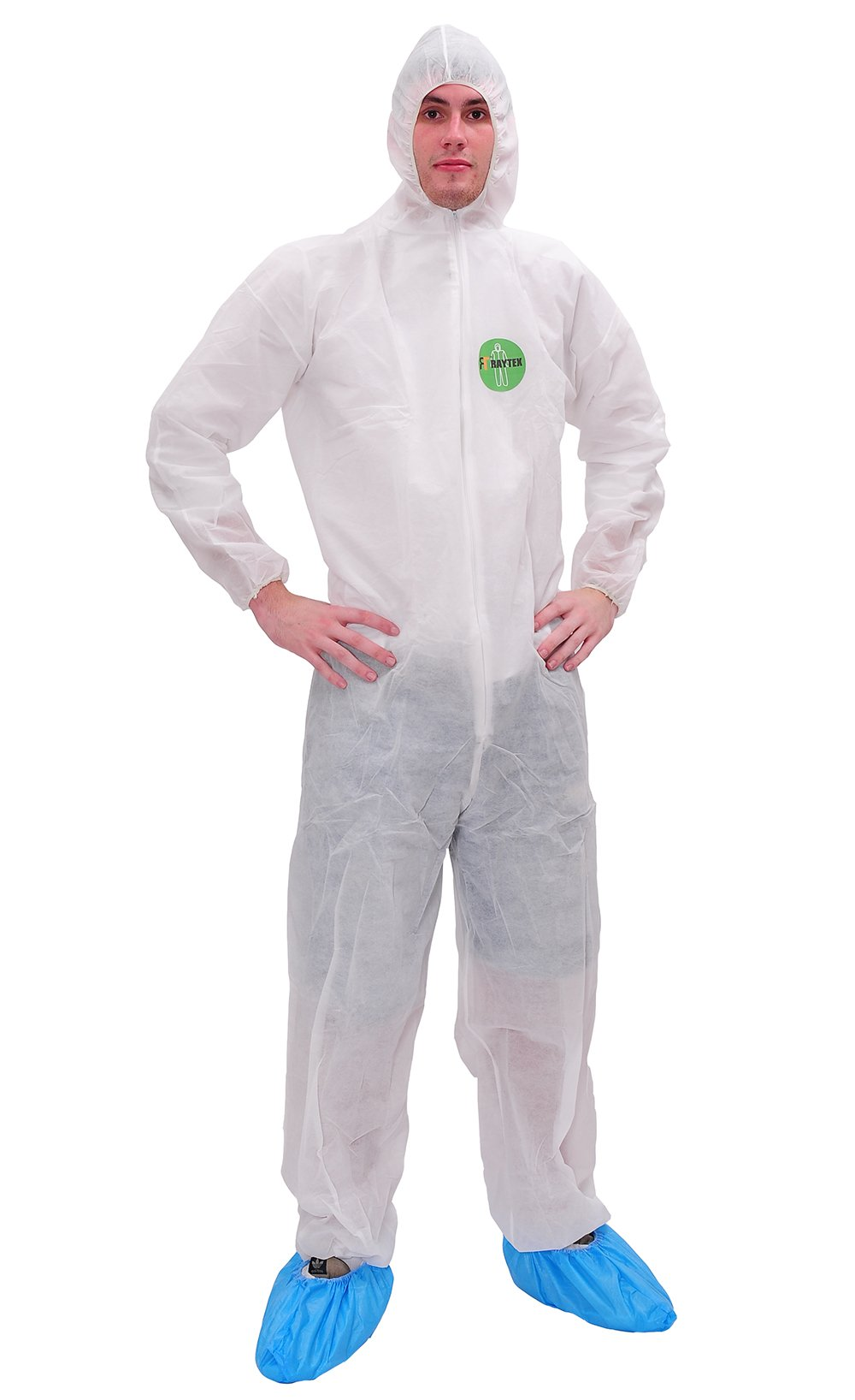 Raygard Light Duty White Disposable Coveralls with Hood Polypropylene PP Suit Elastic Cuffs Front Zipper Closure for Spray Painting Surgical Cleaning Work(X-Large)