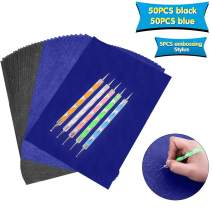 100 Sheets Carbon Transfer Paper,Carbon Copy Paper Tracing Paper with 5pcs Double-end Embossing Stylus for Wood,Paper,Canvas and Other Art Surfaces (8.3 x 11.7 inch,Blue/50Pcs,Black/50Pcs)