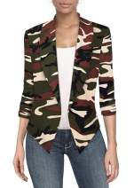 Hybrid & Company Womens Casual Work Office Open Front Blazer Jacket with Removable Shoulder Pads Made in USA