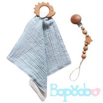 bopoobo Deluxe Olive Oil Wooden Handmade Pacifier Clip with Teether Toys,Cotton Muslin Bandana Drool Solid Color Bib 3pc Baby Newborn Shower Gift(Mint)