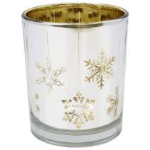 Just Artifacts Christmas Metallic Votive Candle Holder 2.85-Inch - Silver and Gold Snowflakes - Glass Votive Candle Holders for Weddings and Home Décor