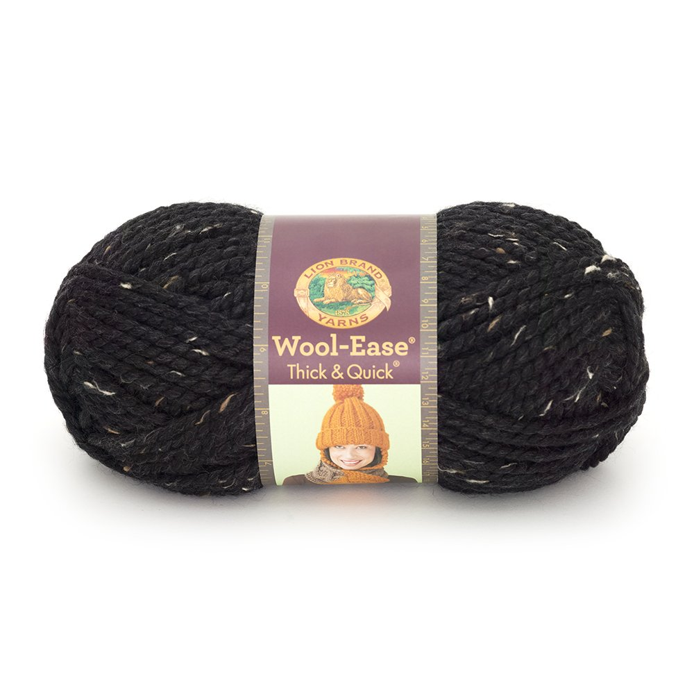Lion  640-155 Wool-Ease Thick & Quick Yarn , 97 Meters, Obsidian