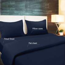 Bed Sheet Set Brushed Microfiber Queen Size 4-Piece sheet set, Ultra Soft Comfortable Wrinkle Fade Resistant With Deep Pocket (Queen, Nave Blue)