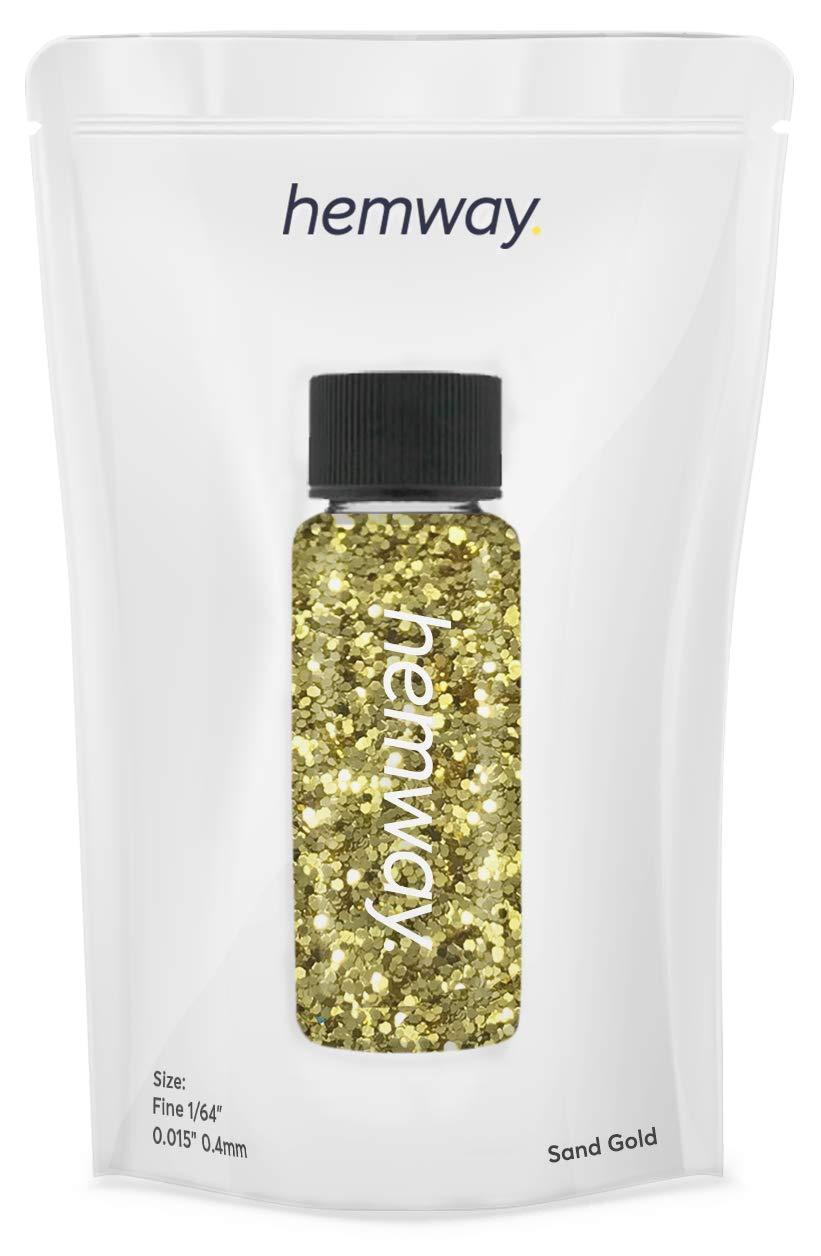 "Hemway Glitter Tube 12.8g / 0.45oz Extra Chunky 1/64"" 0.015"" 0.4MM Premium Sparkle Gel Nail Dust Art Powder Makeup Pigment Eyeshadow Face Body Eye Cosmetic Safe-(Sand Gold)"