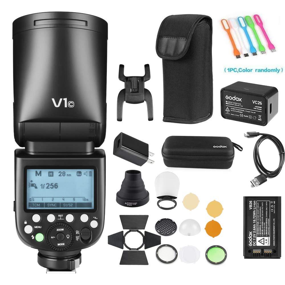 Godox V1-C TTL Flash Speedlite 76WS GN92 2.4GHigh-Speed Sync 1/8000s2600mAh Li-ion Battery Round Head Camera Speedlight with Godox AK-R1 Accessories Kit Compatible for Canon Cameras
