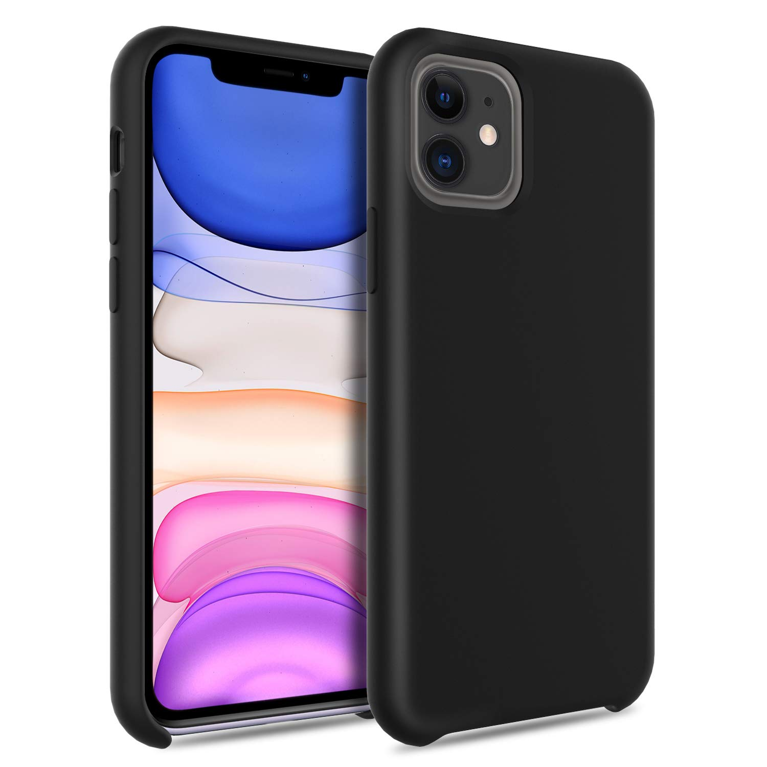 DONWELL Compatible iPhone 11 Case Slim Hard Shell Shockproof Protective Solid Silicone Bumper Anti-Slip Case Cover Compatible with iPhone 11 / iPhone 11R 6.1 inch 2019 (Black)
