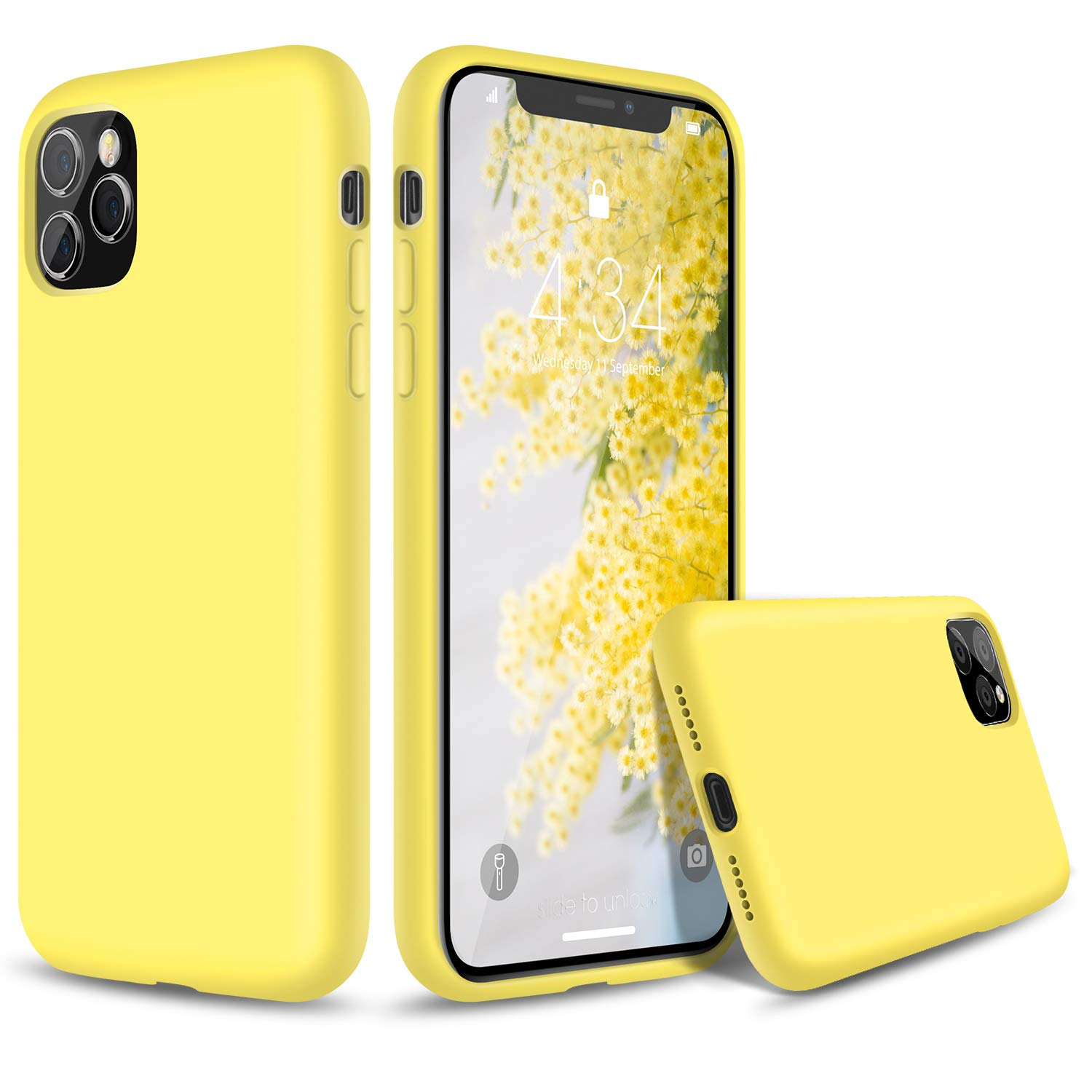 """abitku Silicone Case for iPhone 11 Pro Max,Liquid Silicone Gel Rubber Shockproof Protective Case Cover (Full Body Case with Microfiber Lining) Compatible with iPhone 11 Pro Max 6.5"""" 2019 (Yellow)"""